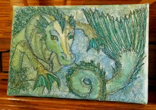 A-Hippocampus-paintedembroidery-rebeccajgreenwood-canvas