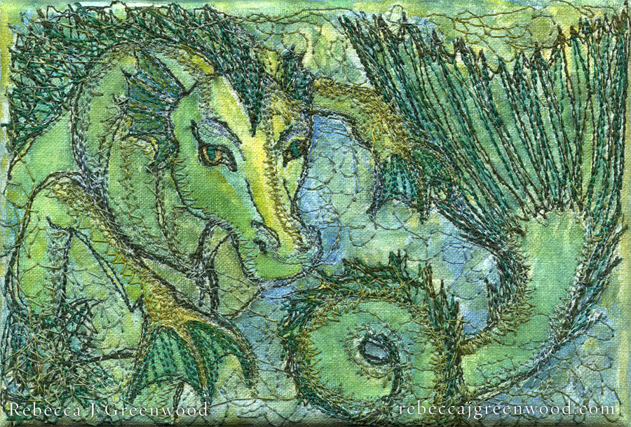 hippocampus_embroidered-paintings_rebeccajgreenwood
