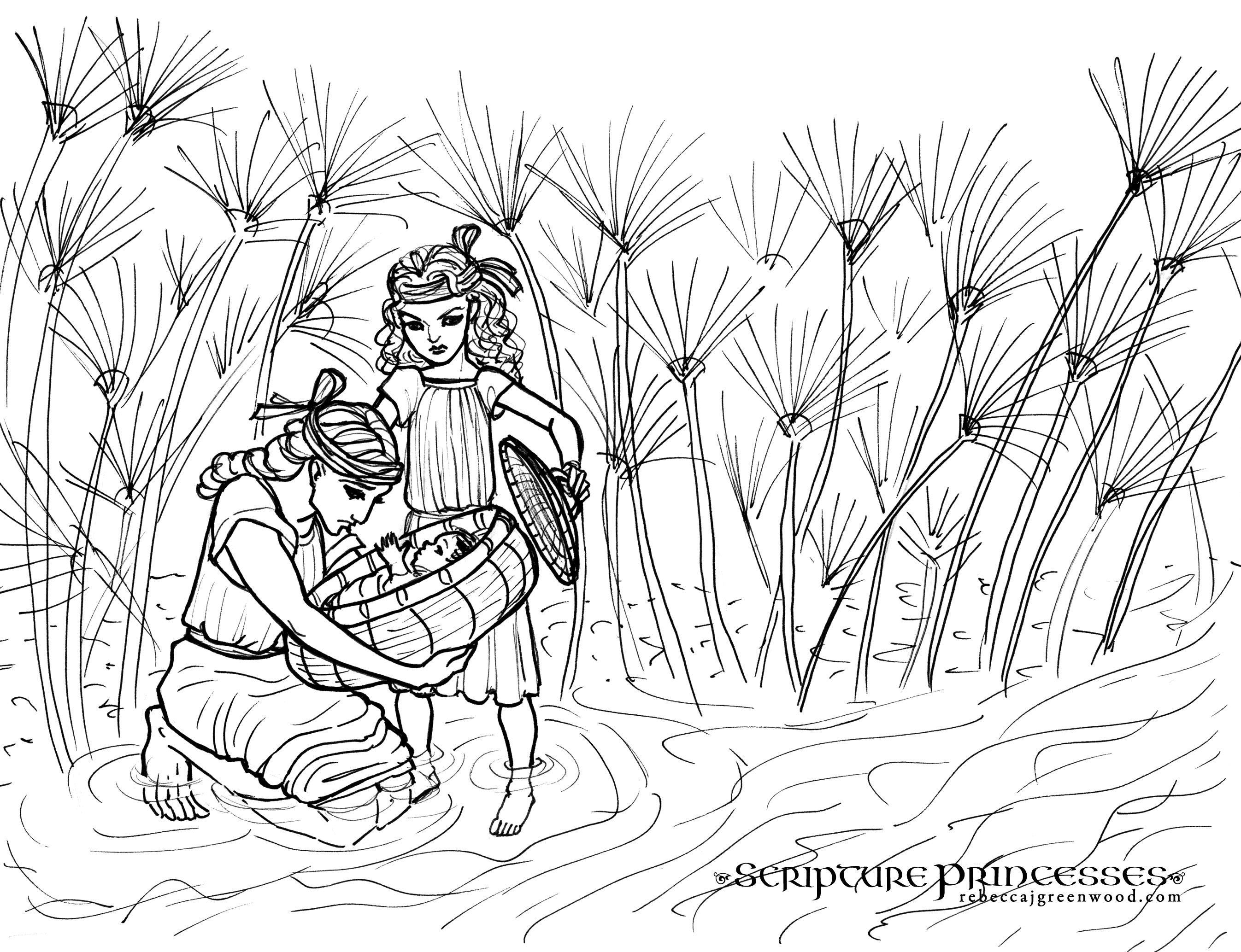 Free coloring page miriam rebecca j greenwood for Moses coloring pages